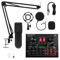 Mikrofon Set Kondensatormikrofon microphone für Aufnahmemikrofon Kit mit Soundkarte, Schwarz