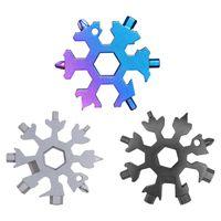 Edelstahl Schraubwerkzeug Schneeflocke Schlüsselanhänger Multifunktion Werkzeug Außenbereich Werkzeugkarte Schwarz