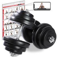 Kurzhantel-Set 20, 30, od. 40kg inkl. Workout I Hantelset mit Kunststoffscheiben Gewicht: 2 x 20 kg