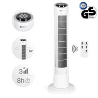 TECVANCE Tower Fan BASIC, Turmventilator leise mit Fernbedienung, Säulenventilator, 90° oszillierender Ventilator, Turm Standventilator, Zeitschaltuhr