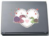 Laptopaufkleber Laptopskin lovely022 - Süße Herzen - Schnecken lieben - 210 mm Aufkleber