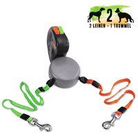 Wigzi Dual Doggie - Automatik Doppelleine für 2 Hunde bis je 22 kg Hundeleinen Flexileine Leinen