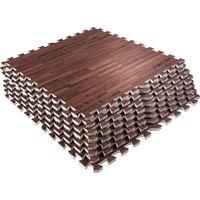 Schutzmattenset mit acht Teilen - Holzoptik Dunkel