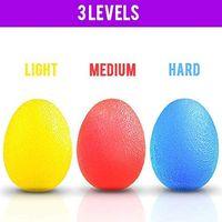 3er Set Eiförmige Griffbälle, Handtrainer, Antistressball, Fingertrainer mit Unterschiedlichen Härtegraden - Lindert Gelenkschmerzen - Weich Gelb, mittelrot, Hart Blau