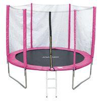 JAWINIO Trampolin 244 cm Gartentrampolin Trampolin Kinder Komplett-Set Leiter Sprungtuch Randabdeckung Pink