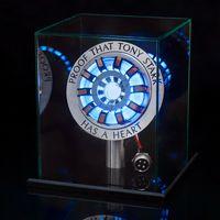 1:1 Aluminium MK2 Arc Reactor Model LED Chest Light Movie Props mit Transparent Box + Base Kits