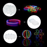 relaxdays 400er Set Knicklichter Partylicht Leuchtstäbe mit Verbinder Glowsticks 7 Farben