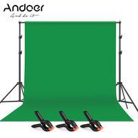 Andoer 2 * 3m / 6,6 * 10ft Studio Fotohintergrund Green Screen Hintergrund Hintergrund Waschbares Polyester-Baumwollgewebe mit Hintergrund Stuetze Halterung + 3 St Hintergrundklemmen