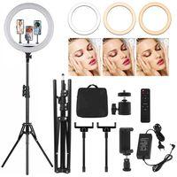 18 Zoll Selfie Ringlicht Set mit Fernbedienung ,Ringleuchte mit 3 Handyhalter ,Tischringlicht mit 3 Farbe und 10 Helligkeitsstufen