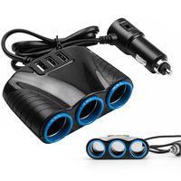 12V/24V LKW Auto KFZ-Adapter 3 Fach Zigarettenanzünder Verteiler Auto Zigarettenanzünder mit 3 USB Port