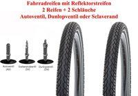 2x 28 Zoll Fahrrad Reifen Mantel Decke 28x1 3/8X1 5/8 37-622 700 x 35C + Reflex; mit  AV Schlauch