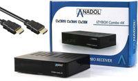 ANADOL IZYBOX Combo 4K Sat-Receiver, Kabel-Receiver & DVB-T2-Receiver, DVB-S2X Tuner, Multistream, 2X USB Astra vorinstalliert, PVR Aufnahmefunktion, Timeshift, HDR, inkl. HDMI Kabel & USB WiFi Stick