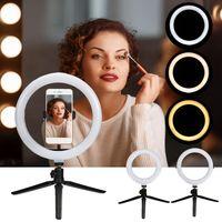 Dimmbar 16cm LED Ringlicht Studiospot Ringleuchte für Telefon Selfie Live Broadcast Video Aufnahme mit Stativ