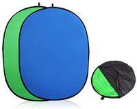 1.5x 2M Hintergrund Studio Hintergrundsystem   Requisiten Faltbar  Blau-Grün  Chromakey Falthintergrund für Fotografie, Fotostudio, ovale Form, wendbar, doppelseitig, Baumwolle, inkl. Tragetasche
