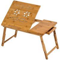 tectake Laptoptisch aus Holz, höhenverstellbar, 55x35x26cm - braun