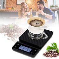 Digitale Kuechenwaage Lebensmittelwaage Kaffeewaage mit Timer 3 kg / 0,1 g Touch Control USB-Aufladung 5 Einheiten