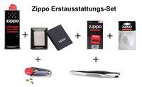 Zippo Erstausstattungs-Set: Zippo Feuerzeug Chrom gebürstet + Benzin, Feuersteine, Docht, Watte, und Pinzette