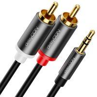 deleyCON 5m Klinke zu Cinch RCA Kabel 3,5mm Audiokabel Wandler Kabel Handy und Smartphone an HiFi-Receiver 3,5mm AUX Klinke auf Cinch Stecker (Extra Dünn & Flexibel)
