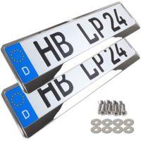 2 Stück Kennzeichenhalter Chrom Vollchrom Kennzeichenhalterung Nummernschild Halter