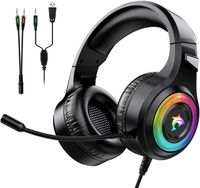 J-ANKKA Gaming Headset für PS4 PC Xbox One S Laptop/Mac/Tabletphone mit LED Licht Stereo Surround Gaming Kopfhörer,Noise Cancelling