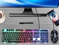 Gaming Tastatur und Maus Keyboard RGB Beleuchtet Set für Büro PC Laptop Schwarz black
