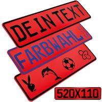 1 Stück Kennzeichen Rot 52cm x 11cm mit Wunschtext FUN Kennzeichen Funschild