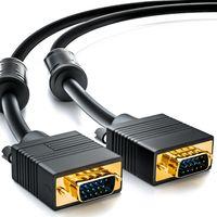 deleyCON 10m VGA Kabel 15pol - S-VGA Monitorkabel D-Sub-Stecker 1080p Full HD geschirmt Knickschutz 2 Ferritfilter vergoldete Kontakte - Schwarz