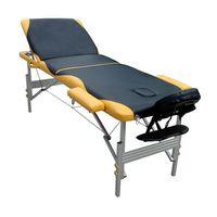 Massageliege Massagebank 3 Zonen Schwarz/Gelb Kopfstütze Tasche  Ergonomische Mobile Massagebett Tragbar Holzfüßen Höhenverstellbaren Kosmetikliege