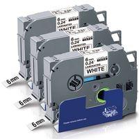 UniPlus 3x Kompatible Schriftband als Ersatz für Brother Tze-211 6mm  für Brother P-Touch PT H100LB H100R H105 H105WB E100 1010, 6mm x 8mSchwarz auf Weiß