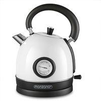 Monzana Wasserkocher 1,8L Kabellos BPA Frei Überhitzungsschutz Retro Design Edelstahl 2200 W Küche Teekocher Kocher, Farbe:weiß