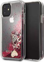 Guess Hard Cover Schutzhülle für Apple iPhone 11 Rot Glitzer Herz Tasche Case
