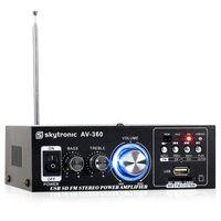 Skytronic AV-360 Hochkompakter Mini-Verstärker mit MP3-fähigen USB- und SD-Eingängen, AUX-Eingang und UKW-Radioempfänger