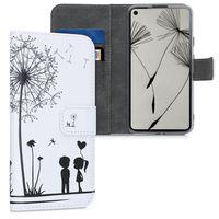 kwmobile Wallet Case kompatibel mit Google Pixel 4a - Hülle Kunstleder mit Kartenfächern Stand Pusteblume Love Schwarz Weiß