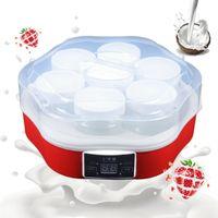 Joghurtbereiter Joghurtmaschine Jogurtmaker | automatisch | Edelstahl | 7 Gläser 1,7L | Ideal für Ihr Morgen Müsli Joghurt ohne Zusatz | Rot NEU