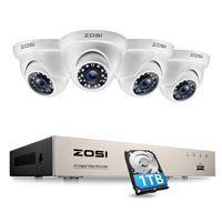 ZOSI 4CH 1080P HD DVR Video Überwachungssystem mit  1TB Festplatte und 4 Außen 2.0MP Dome Überwachungskamera Set