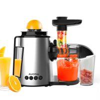 AUCMA Slow Juicer BPA-frei Entsafter 2 in 1 Elektrisch Entsafter für Obst und Gemüse Zitruspresse aus Edelstahl Umkehrfunktion & 2 Geschwindigkeiten 150W Silber