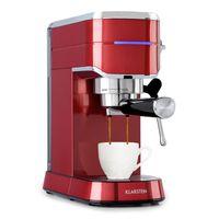 Klarstein Futura Kaffeemaschine , Siebträgermaschine ,1450 Watt , 20 bar , Barista-Qualität , Thermo-Block Heizsystem , Zweifach Ausguss , Fließstopp , Milchaufschäum-Funktion , abnehmbare Tropfschale , 1,25 Liter Wassertank , rostfreier Edelstahl , Tassenwärmer , rot