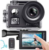 AKASO Action cam V50 Elite 4K/60fps Action Kamera 20MP WiFi mit Touchscreen EIS 40M unterwasserkamera mit 8X Zoom Sprachsteuerung Fernbedienung Zubehör Kit Sportkamera