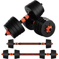 GEEMAX Verstellbares Hanteln Langhanteln Gewichte Set, 2IN1 Kurzhanteln Hantelset Freies Gewicht Dumbbell für Bodybuilding Fitness 30kg