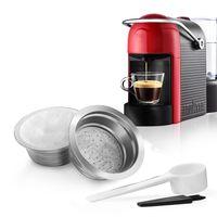 benfuchen Edelstahl Wiederverwendbare nachfuellbare Kaffeekapseln Kompatibel mit LAVAZZA Ein MODO MIO Kaffeetassenfilter mit 60 Stueck Aluminiumfolie