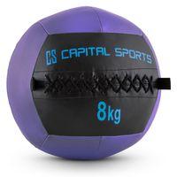 CAPITAL SPORTS Epitomer - Medizinball , Wall Ball , Fitness Ball , Krafttraining , Ausdauertraining , Functional Training , vernähtes Kunstleder , griffige Oberfläche , Farbe: lila , Gewicht: 8 kg