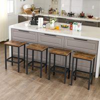 VASAGLE Barhocker 2er Set | Barstühle mit Fußstütze | Küchenstühle im Industrie-Design | Vintage dunkelbraun LBC65X