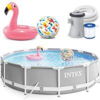 INTEX 305x76 cm Prism Metal Frame Swimming Pool Schwimmbecken 26702 Komplett-Set mit Extra-Zubehör wie: Strandball und Schwimmring