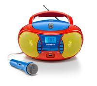 Karcher RR 5026 tragbares CD Radio - bunte Kinder-Boombox mit CD-Player, UKW Radio, USB & Mikrofon - Batterie/Netzbetrieb