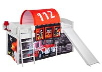 Spielbett IDA 4105 Feuerwehr - Teilbares Systemhochbett LILOKIDS - Weiß - mit Rutsche und Vorhang