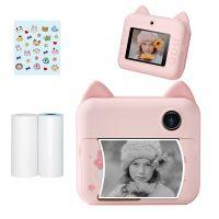 P1 Kinderkamera 32GB Kinder Sofortbildkamera Fotodrucker 2,4 Zoll IPS Bildschirm Weihnachten Geburtstagsgeschenke fuer Maedchen mit Druckpapier Unterstuetzung WIFI uebertragung Anwendbar auf selbstklebendes Fotopapier