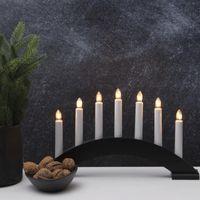 Lichterbogen Bea - 7flammig - warmweiße Birnchen - L: 39cm, H: 22cm - Schalter - schwarz