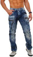 Cipo & Baxx Herren denim Jeans Hose mit aufgepatchen Oberschenkel-Taschen und Kontrast Ziernähten Vintage Look Pants Straight Cut Leg Regular Fit, Grösse:W32/L32, Farbe:Blau (C-1178)