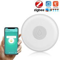 ZigBee Smart Home Wasserlecksensor Drahtloser Hochwassermelder Wasserlecksuche Alarm Wasserstandueberlaufalarm Tuya Smart Life App Fernbedienung Kompatibel mit IFTTT fuer die Sprachsteuerung Wei?