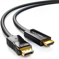 deleyCON 2m DisplayPort zu HDMI Kabel - High Speed 4k UHD FullHD 1080p 3D HDCP Audioübertragung - DP Stecker auf HDMI Stecker Adapterkabel - Schwarz